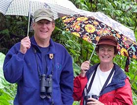 Suzanne isn't all work – she's traveled afar to places as diverse as Africa and Alaska to experience nature. She's shown here with Steve on a 2010 trip to Panama. Photo by Holly Greening