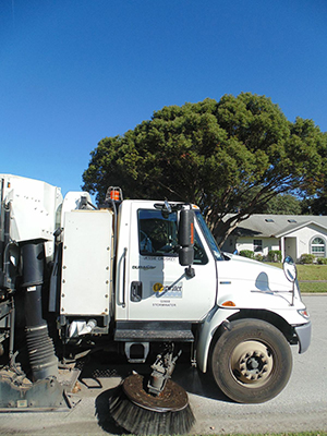 Croskey drives a $250,000 streetsweeper through Clearwater neighborhoods. Photo by Victoria Parsons