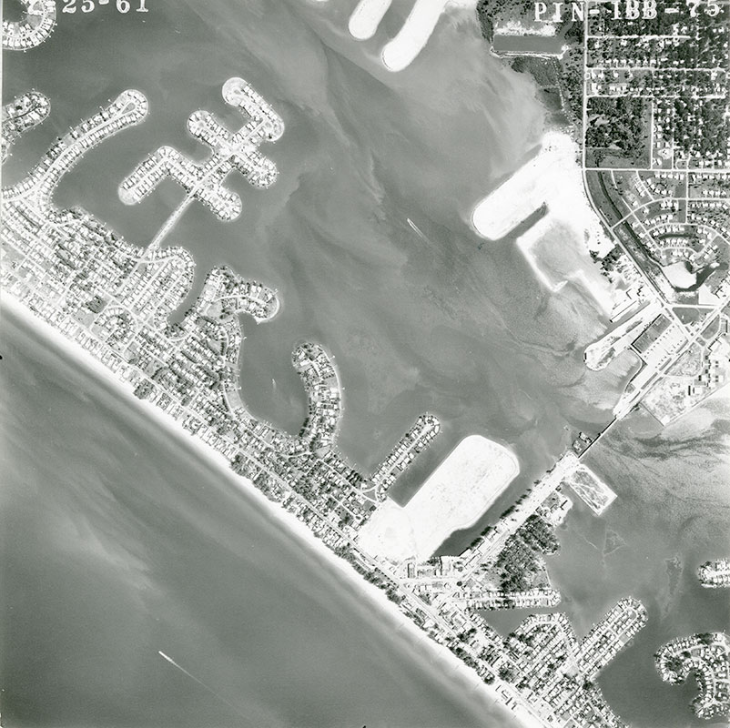 Dredging operations transformed Boca Ciega Bay along Redington Beach and Madeira Beach. Image courtesy of Archives and Library, Heritage Village.