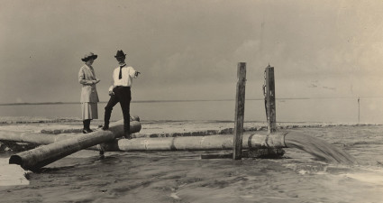 George S. Gandy inspects dredging operations along the approach of the privately-owned Gandy Bridge completed in 1924. Courtesy of the Poynter Library, USF St. Petersburg.
