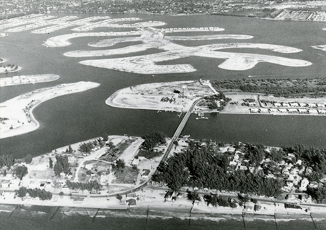 Dredging operations transformed Paradise Island and the Yacht Club Estates along the Treasure Island Causeway during the 1950s. Image courtesy of Archives and Library, Heritage Village